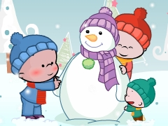 小破孩2018年12月壁纸-堆雪人